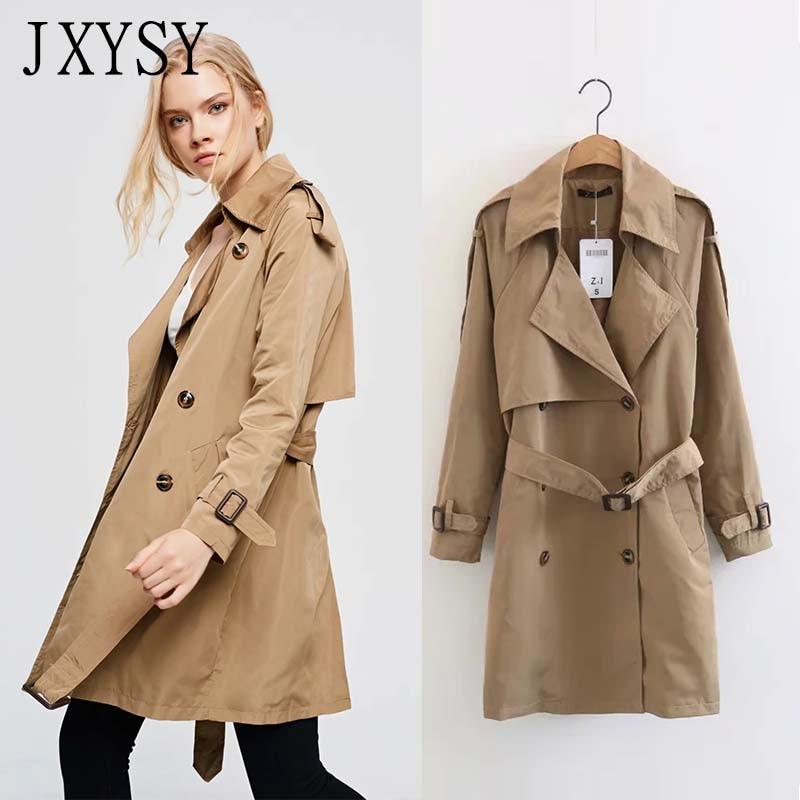 JXYSY 2019 Autumn New Fashion   Trench   Coat Women Khaki Slim Mid-long Windbreaker Outerwear Lady With Belt Women   Trench   Coat