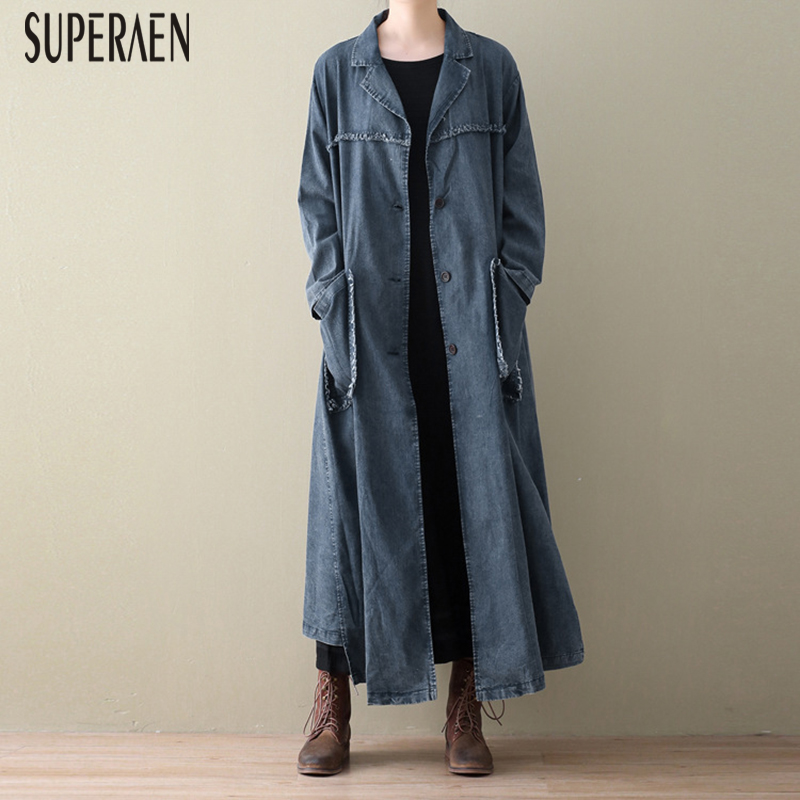 SuperAen Spring And Autumn New 2020 Denim Trench Coat For Women Bat Sleeve Fashion Ladies Windbreaker Wild Women Clothing