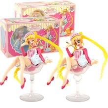 Figura de Sailor Moon de 12cm, juguete de Tsukino sentado en el cáliz, dulces de postre, muñeca coleccionable en miniatura