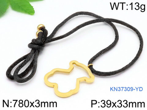 Stainless Steel Pendant Bear Necklace Adjustable Drawstring Retro Rope Chain Brown Black Personality Necklace