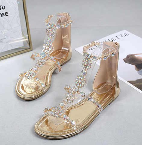 נשים שקוף סנדלי נוחות נשים נעלי Rhinestones שטוח סנדלי קריסטל Sandalias גבירותיי נעלי אישה Sandalie נשי נעל