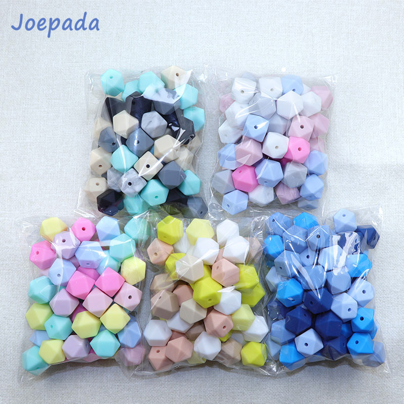Joepada 14mm Hexagon Silicone Beads 30Pcs/lot For DIY Baby Pacifier Chain BPA Free Teething Baby Teether Baby Accessories(China)