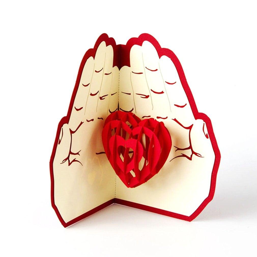 3D всплывающие поздравительные открытки подарок на день рождения карты красное сердце фестиваль открытка Винтаж приглашение свадьба