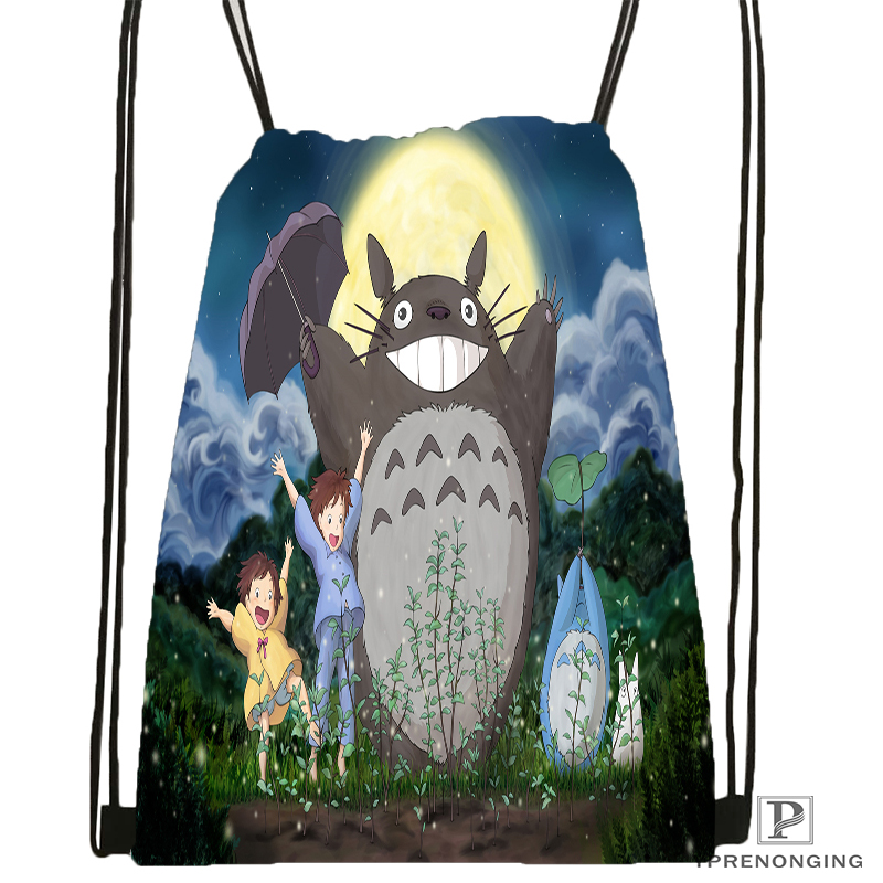 Custom My Neighbor Totoro Drawstring Backpack Bag Cute Daypack Kids Satchel (Black Back) 31x40cm#180531-04-32