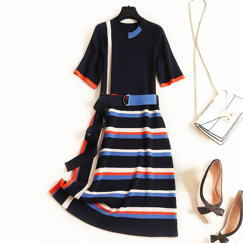 New 2019 autumn winter dress knitted sweater women sexy dress color blcok striped short sleeve sashes brand casual dresses