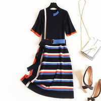 New 2019 autumn winter womens fashion knit sweater sexy dress color blcok striped short sleeve sashes dresses