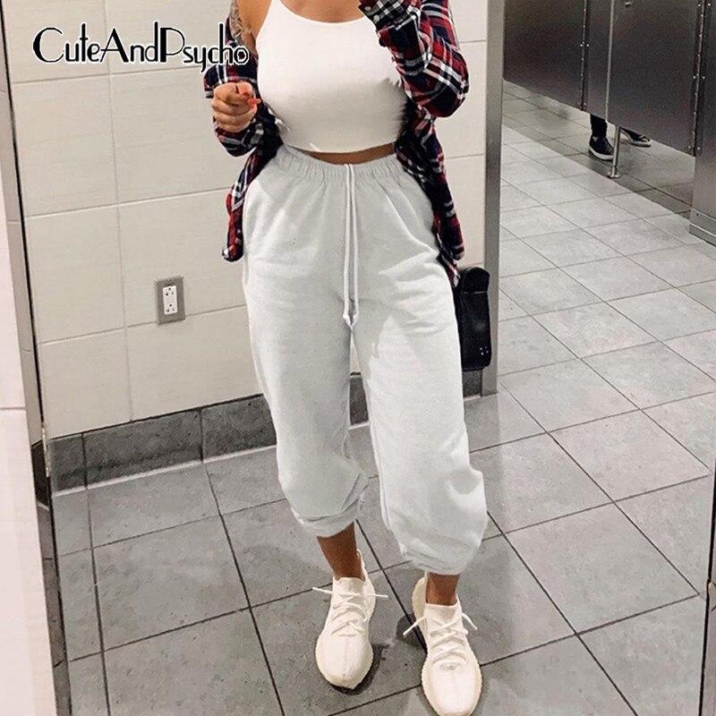 Solid Women Pencil Pants Plus Size High Waisted Trousers Wide Leg Sweatpants Ladies Oversized Joggers Streetwear Cteandpsycho
