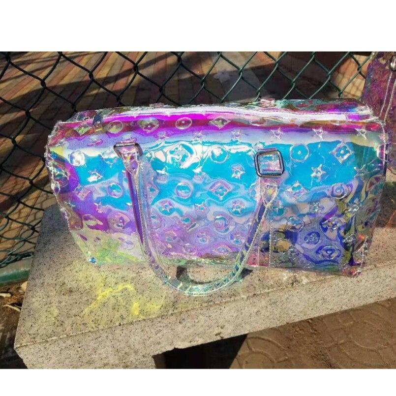 Holographic Transparent Bag Women Handbag Sac Holo Laser Gym Travel Bag 2021 Summer PVC Luggage Shoulder Large Capacity Bolsa V