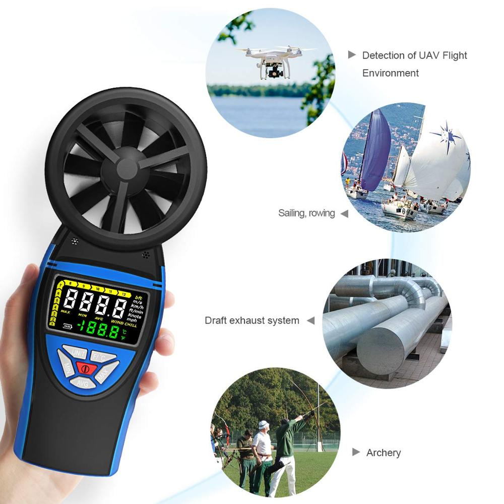 BTMETER 8805 Handheld Digital Anemometer Wind Meter Gauge For Wind Speed Temperature Chill Tester For HVAC CFM Shooting Boats