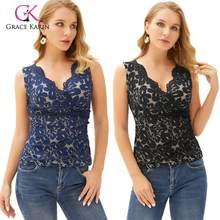 Grace Karin Sexy Women's Sleeveless Lace Tops Sexy Scalloped Surplice V-Neck Stretchy Fashion Lady Lace Cami Tops(China)