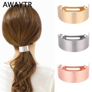 AWAYTR Korean Simple Metal Hair Clips For Women Hairpin Headwear Hair Barrette Ponytail Holder Girls Hair Accessories Female