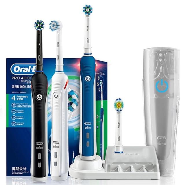 Oral b 3d pro2000 sonic sensor de pressão escova dentes inteligente indicador carregamento pro2000 escova dentes