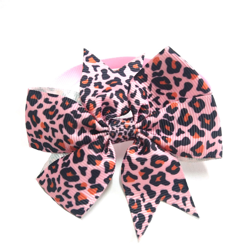 30/50pcs Leopard Pet Dog Bowties Adjustable Pet Collar Cat Bow Tie Necktie for Puppy Dog Grooming Pet Acessories