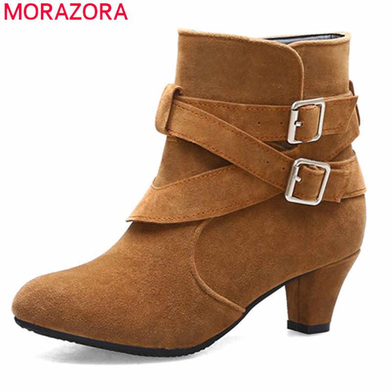MORAZORA 2020 yeni varış kadın yarım çizmeler sivri burun toka sonbahar kış patik basit vintage yüksek topuklu ayakkabılar kadın