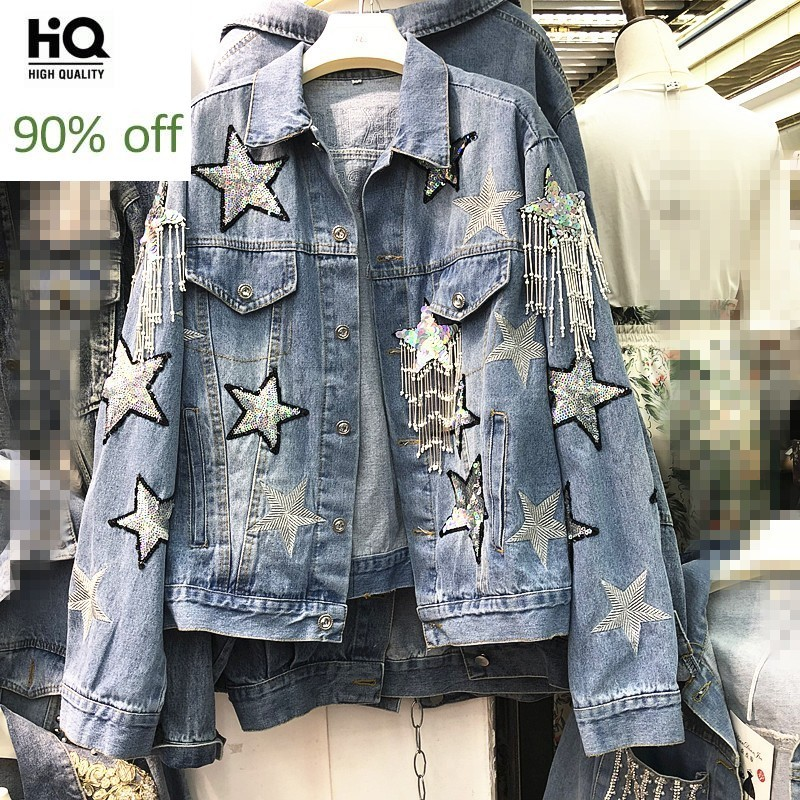 Chic Pentagram Embroidery Sequins Beading Tassel Womens Denim Jackets Sping Casual Single Breasted Loose Female Outerwear Coats