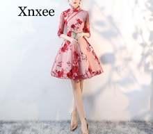 Кружевное элегантное женское платье Ципао трапециевидной формы