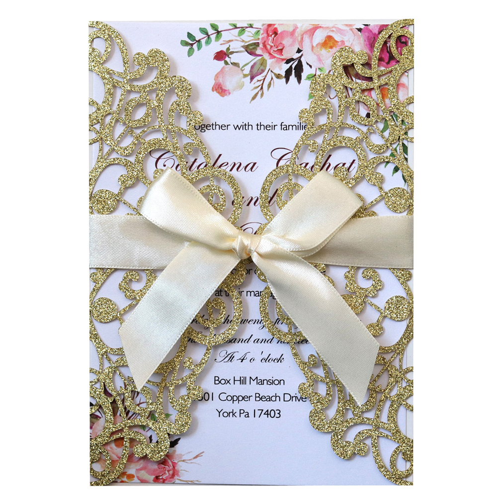 Glitter Laser Cut Wedding Invitations with Ribbon and Envelopes for Engagement Bridal Shower Birthday Party Cards