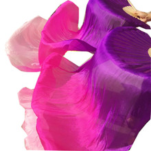 เด็กผู้ใหญ่Hand Real Silk Veilsไม้ไผ่Flame Belly DanceยาวพับพัดลมVeilศิลปะสีม่วงสีชมพู 120 ซม.180 ซม.