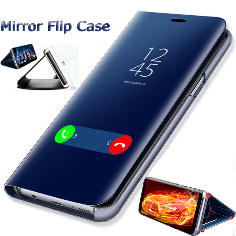 Mirror Smart Phone Case For Samsung <font><b>Galaxy</b></font> S10 S9 S8 Plus S7 Edge A50 A8 <font><b>2018</b></font> Flip Stand Cover For Samsung Note 9 <font><b>8</b></font> 10 Plus Case image