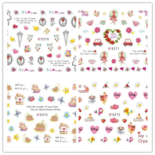 E248-280 Series 3D Suspender Strap Glue Nail Sticker Model Nail Sticker Summer Coconut Shell Manicure Flower Stickers
