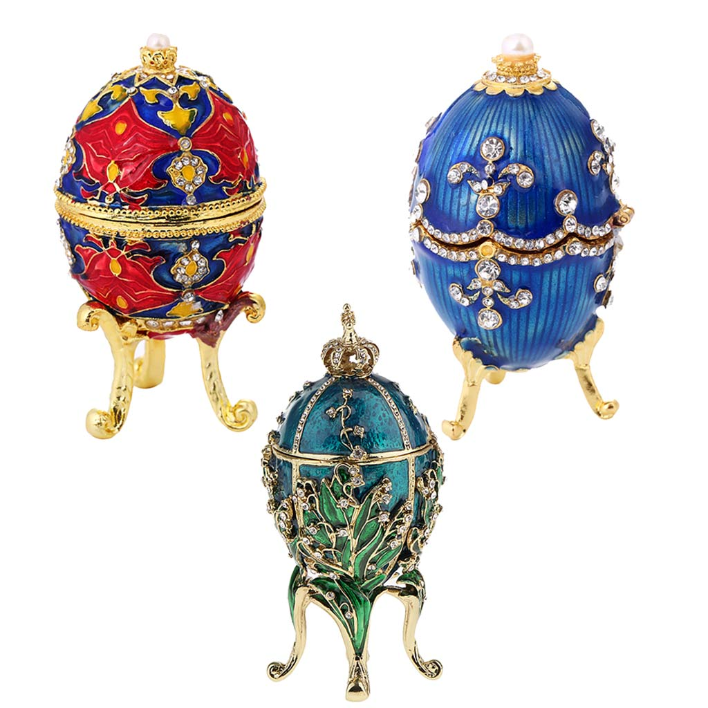 3 Pieces Luxury Faberge Easter Eggs Russian Royal Case Leg Jewellery Box Holder
