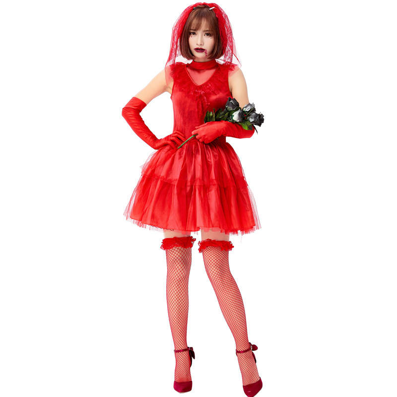 <font><b>Sexy</b></font> Ghost Bride Adult cosplay <font><b>Anime</b></font> Role Play Bloody Mary Red Red Mesh Lace Dress Fantasia <font><b>Halloween</b></font> <font><b>Costumes</b></font> For Women Disfraz image