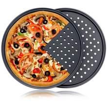 Bandeja de cozimento antiaderente de pizza design de aço carbono com base resistente ao calor utensílios de perfuração buraco de cozimento