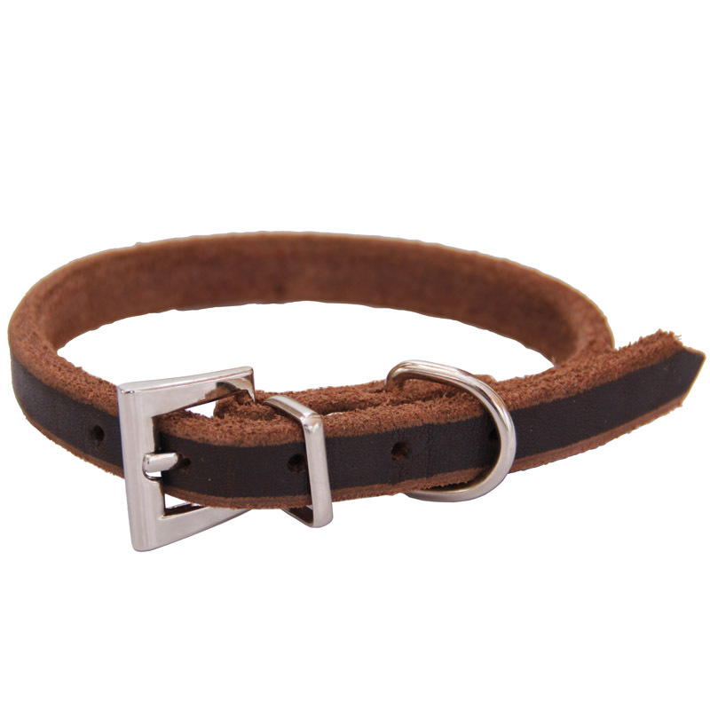 Wholesale First Layer Cow Leather Collar Dog Collar Pet Collar Genuine Leather Neck Ring Oil Skin Neck Ring Pet Supplies