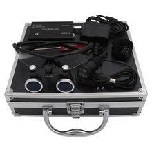 Dental Loupes Dental Magnifier Dental Lab Medical Loupes Magnification Binocular 2.5/3.5x420 Headlight Headlamp 5W Set Metal Box