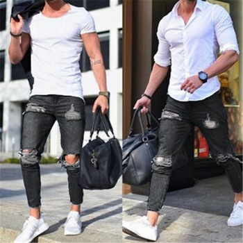 Black Ripped Holes Jeans For Men Streetwear Skinny Slim Fit Mens Destroyed Jean Pencil Pants Distressed Stretch Denim Trousers stretch ripped cropped pants men 2020 brand new mens destroyed skinny denim trousers foot zipper hip hop pencil jeans for men