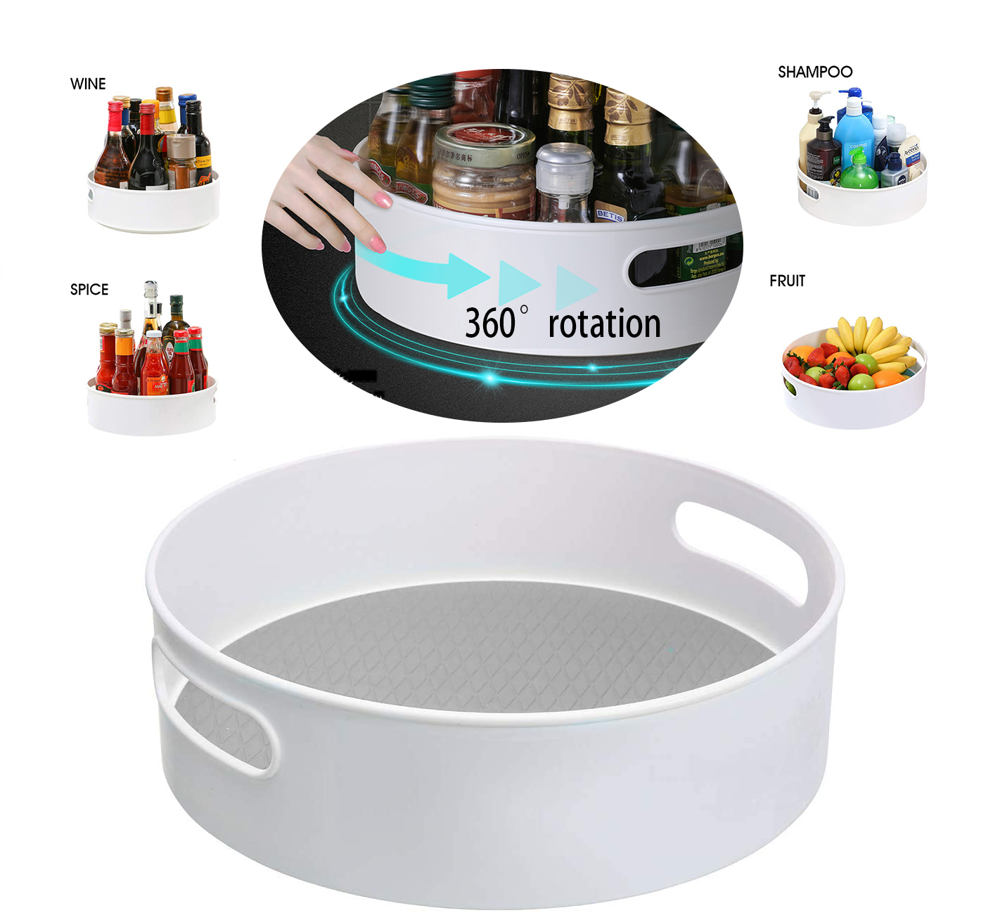"""Plastic Lazy Rotating Storage Container - Non-Slip 9"""" & 12"""" Rotating Organizer tray for Kitchen Pantry, Cabinet, Bathroom"""