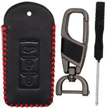 Funda de cuero con 3 botones para llavero, para Mitsubishi Outlander Lancer EX ASX Pajero Sport Colt Grandis con llavero