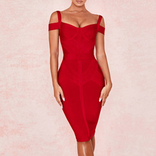 Ocstrade New Bandage Dress 2019 Fall Fashion High Quality Women Off Shoulder Red Rayon Bodycon Club Party