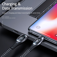 USAMS 2m Cable for iphone 12 11 Pro X XS Max XR 8 7 6 6s plus SE 5S LED Display Cable 2A fast charging Data Cable for iPhone charger cable