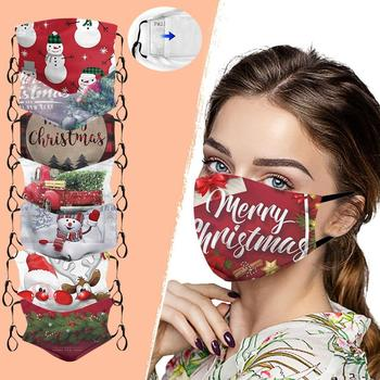Christmas Adults Washable Prints Mask Filter Xmas Outdoor Festival Decor Protective Cover Mouth Face masks Masker