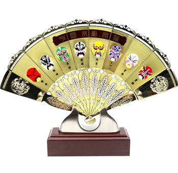 Chinese Classic Handmade Three-dimensional Gold Fan Business Gift Home Screen Decor Creative Folding Hand Fans Luxury Gift LF586