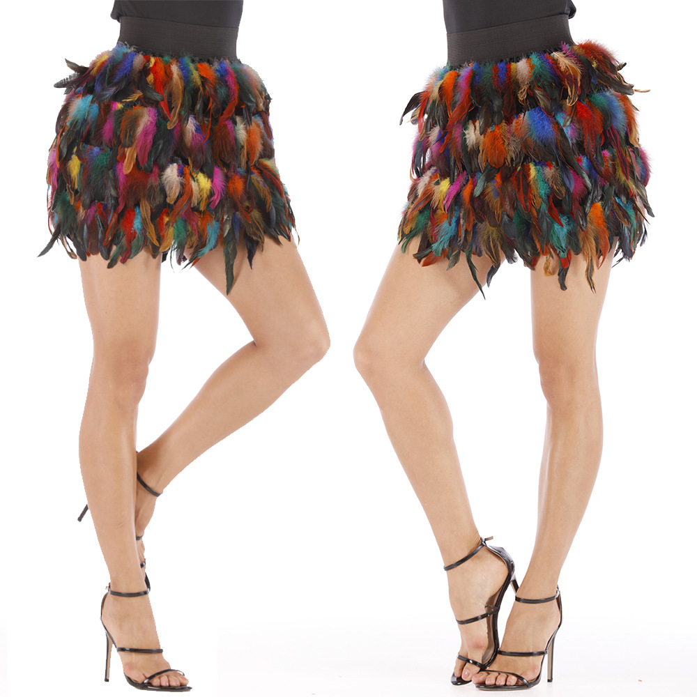 2019 New Skirts Women Luxury Peacock Feather Mini Skirt Ladies High Waist Casual Elastic DS Costume Jazz Dance Party Women Skirt