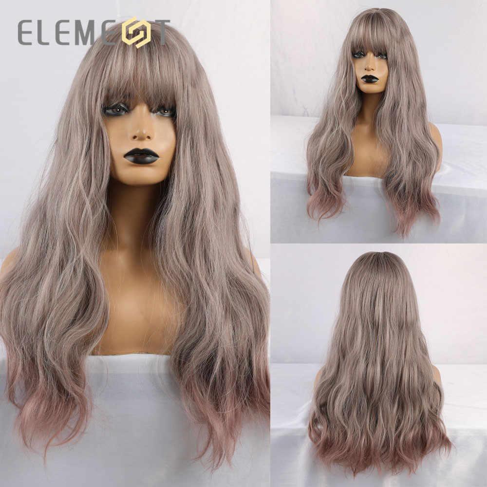 Element syntetyczne długie naturalne włosy falowane szary Ombre fioletowy kolor peruki z grzywką dla białych/czarnych kobiet Party
