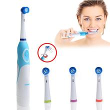 AZDENT  Rotating Electric Toothbrush Operated Battery with 4 Brush Heads Oral HygieneTeeth Whitening No Rechargeable Tooth Brush azdent electric toothbrush rotating type az 2 pro battery operated no rechargeable teeth brush with 4 heads oral care for adults