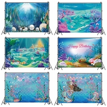 Laeacco Little Mermaid Princess Backdrops Sea Castle Bubble Fish Coral Custom Birthday Photography Backgrounds Newborn Photocall