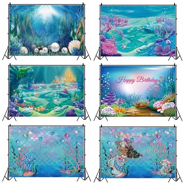 خلفيات Laeacco للأميرة الصغيرة حورية البحر وقلعة البحر والأسماك والمرجان مخصصة لتصوير أعياد الميلاد وخلفيات للحديث الولادة