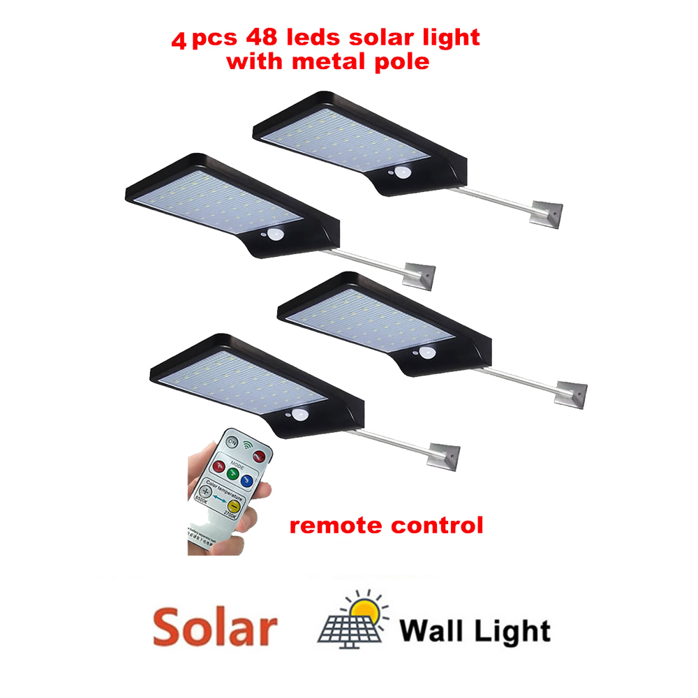 2/4pcs Waterproof 48 LEDs Solar Light Motion Sensor Wall Lamp Outdoor Garden Lampada Solar Garden Lamp Security Solar LED Lighti
