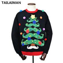 Рождественский свитер с длинным рукавом и круглым вырезом пуловер