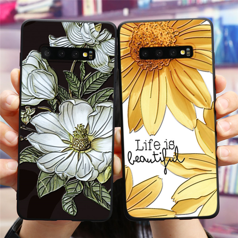 3D Emboss Case For Samsung Galaxy A51 A71 A31 A41 A11 A21 A91 A10 A20 A30 A40 A50 A70 S10 S8 S9 S20 Ultra Plus TPU Flower Cover image