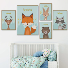 Raccoon Fox Rabbit Deer Squirrel Animals Wall Art Canvas Painting Nordic Posters And Prints Baby Pictures Kids Room Decor