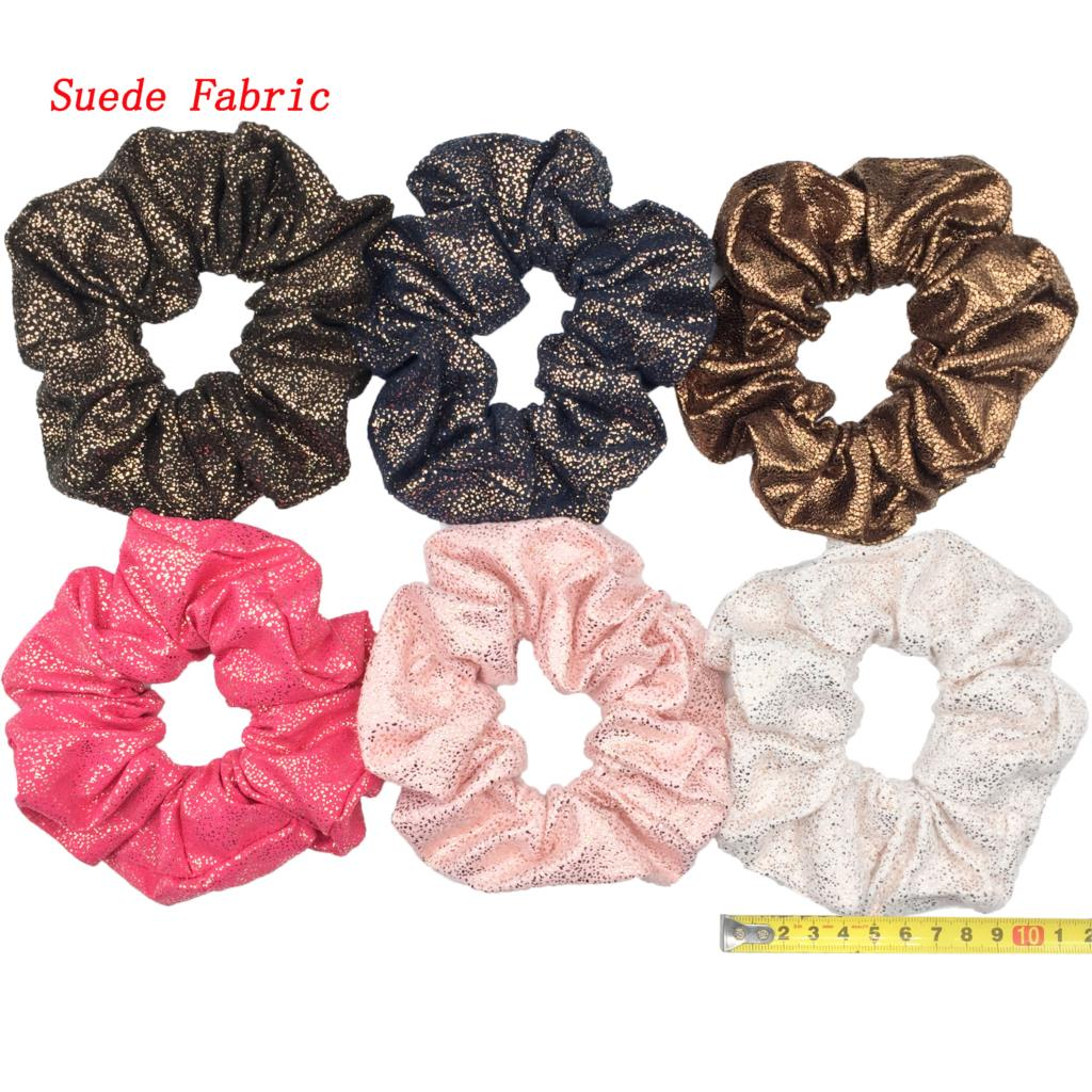 6 шт/лот Бархатные эластичные резинки для волос, резинки для волос для девочек, не складываются, леопардовые женские большие мелкие блестки из шифона с цветочным рисунком - Цвет: PJ045-6PCS
