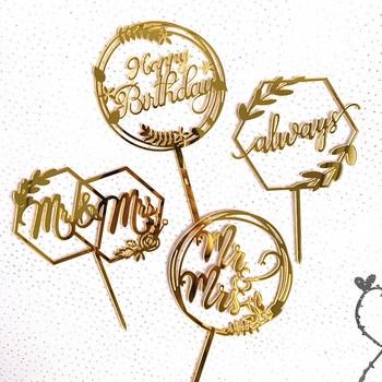 wholesale 50pcs Cake Decoration Ins Style Valentine's Day Wedding Marry MR & MRS Acrylic Cake Decoration Insert