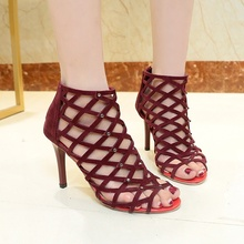 Women's Mesh Hollow Out High Heels Shoes Woman Pumps Zipper Summer Peep Toe Ankle Sandals Boots Crystal Square Heels krazing pot high street fashion bling diamond crystal mesh ankle summer boots high heels stiletto gorgeous pointed toe shoes l89
