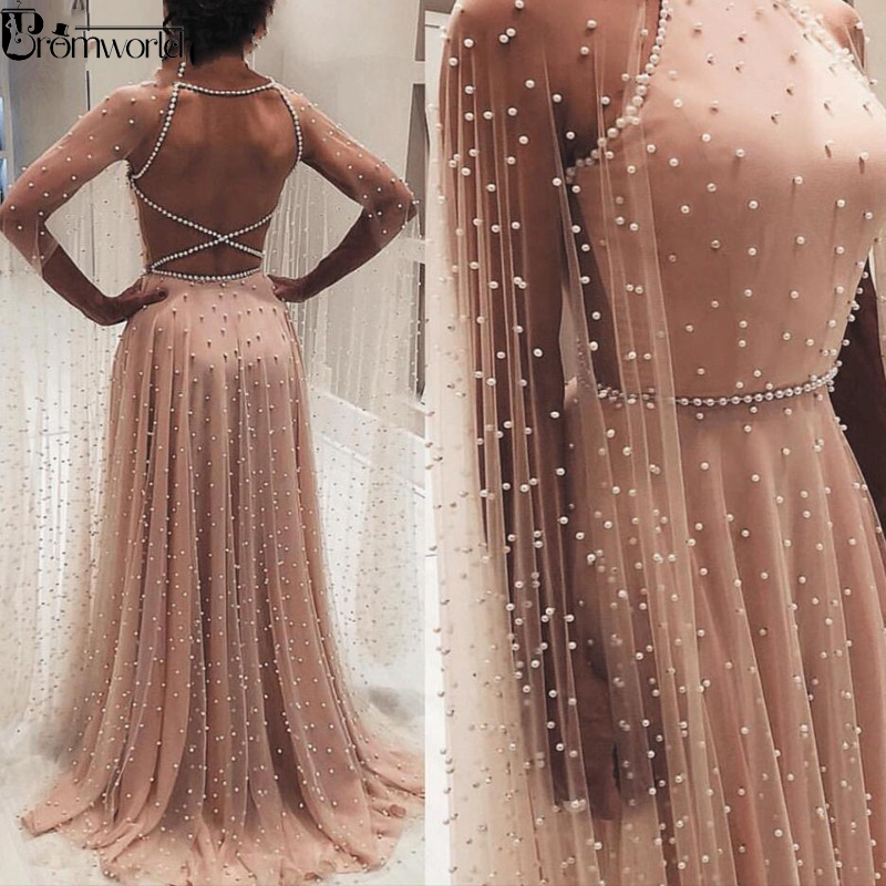 Blush Tulle Pearls Elegant Evening Dress 2019 Prom Gown Vestidos De Fiesta Arabic Special Occasion Graduate Formal Party Dress