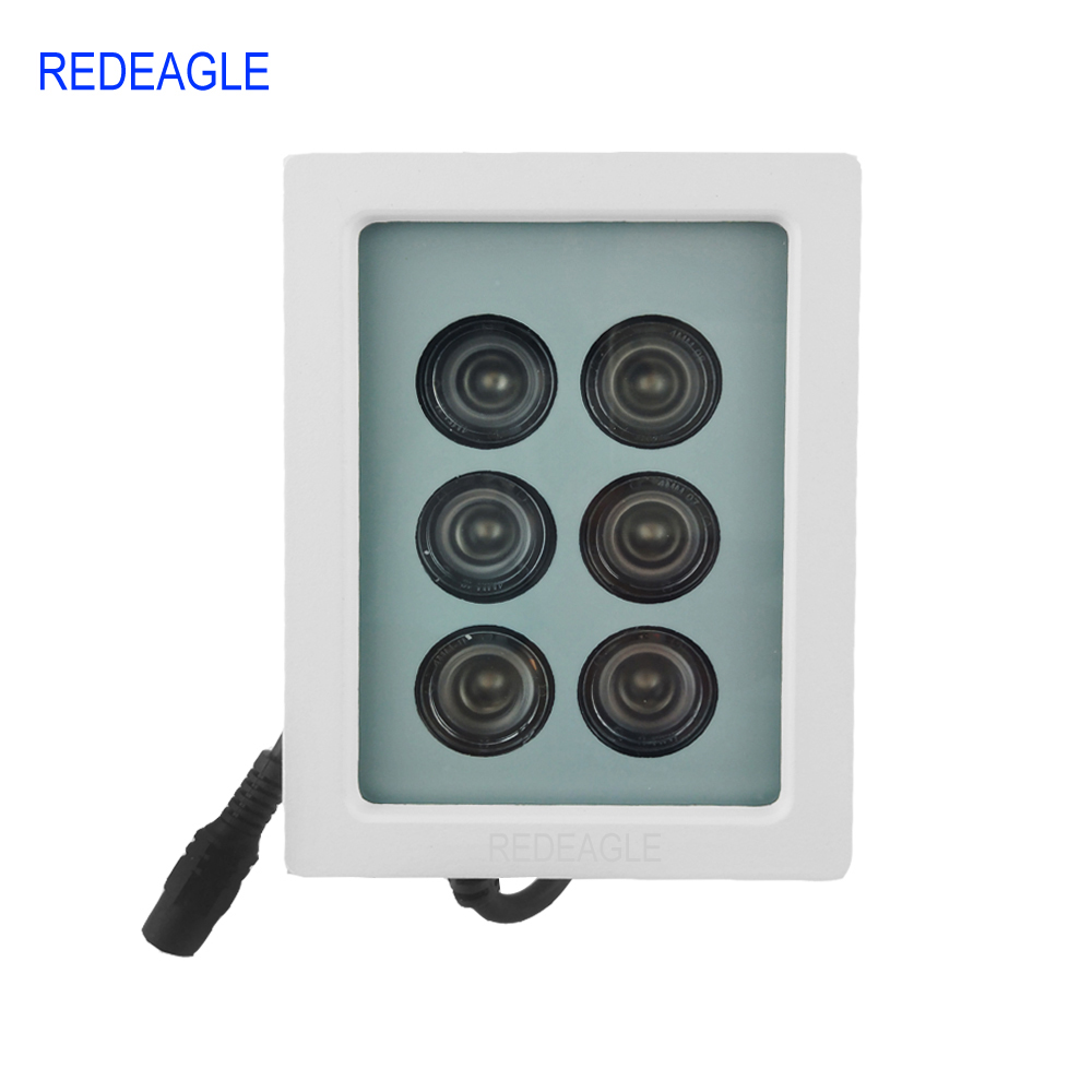REDEAGLE 850nm Infrared Lamp 6 Array LED Metal Waterproof IR Fill Light 45 degree for CCTV Security Camera